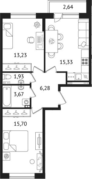 Планировка Двухкомнатная квартира площадью 58.78 кв.м в ЖК «Дом с фонтаном»