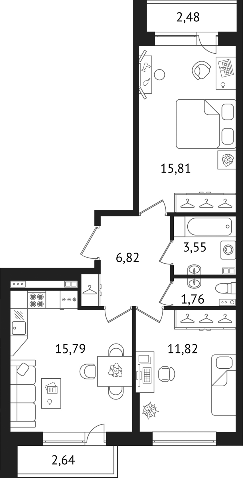 Планировка Двухкомнатная квартира площадью 60.67 кв.м в ЖК «Дом с фонтаном»