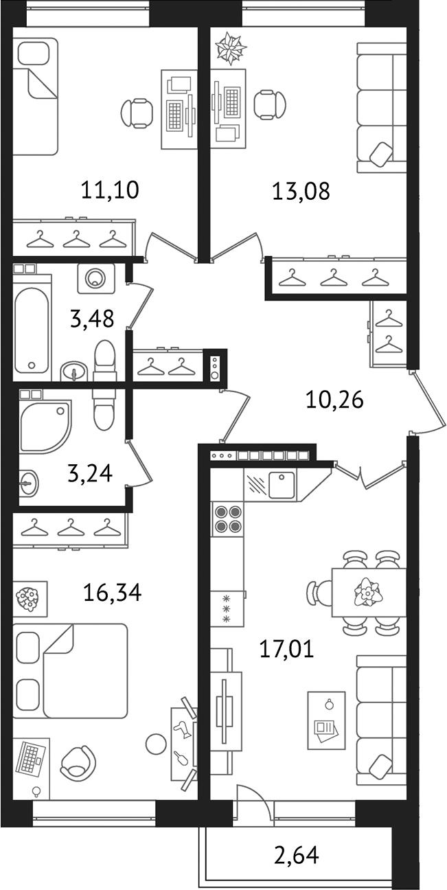 Планировка Трёхкомнатная квартира площадью 76.89 кв.м в ЖК «Дом с фонтаном»