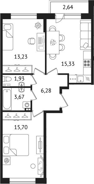 Планировка Двухкомнатная квартира площадью 58.7 кв.м в ЖК «Дом с фонтаном»