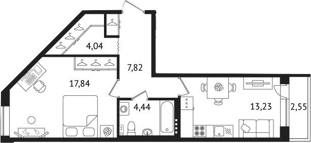 Планировка Однокомнатная квартира площадью 49.78 кв.м в ЖК «Дом с фонтаном»