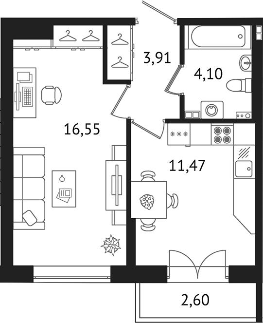 Планировка Однокомнатная квартира площадью 38.56 кв.м в ЖК «Дом с фонтаном»