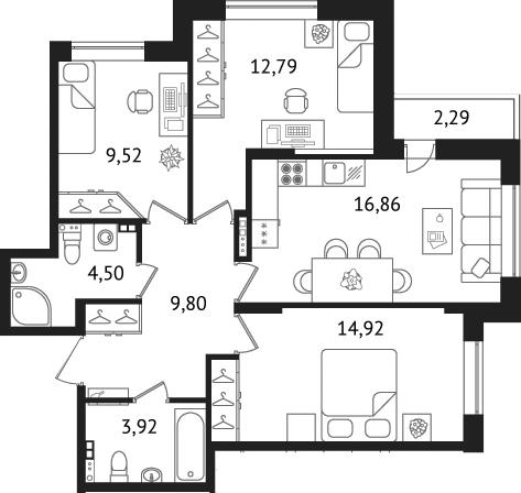 Планировка Трёхкомнатная квартира площадью 74.6 кв.м в ЖК «Дом с фонтаном»