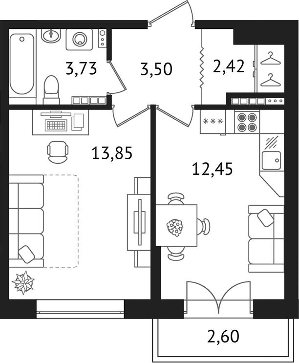 Планировка Однокомнатная квартира площадью 38.55 кв.м в ЖК «Дом с фонтаном»
